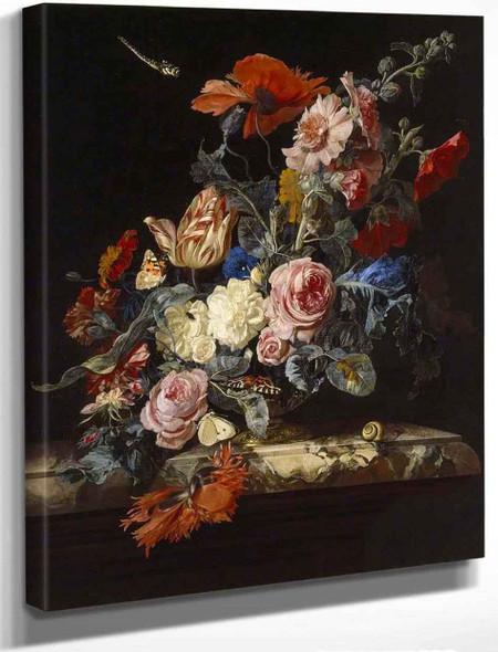 A Vase Of Flowers By Willem Van Aelst By Willem Van Aelst