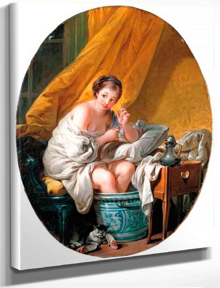 A Young Woman Taking A Footbath By Francois Boucher