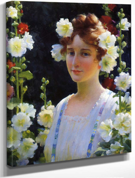 Among The Hollyhocks By Charles Courtney Curran By Charles Courtney Curran