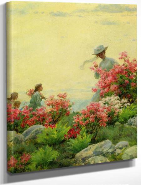 Among The Wild Azaleas By Charles Courtney Curran By Charles Courtney Curran
