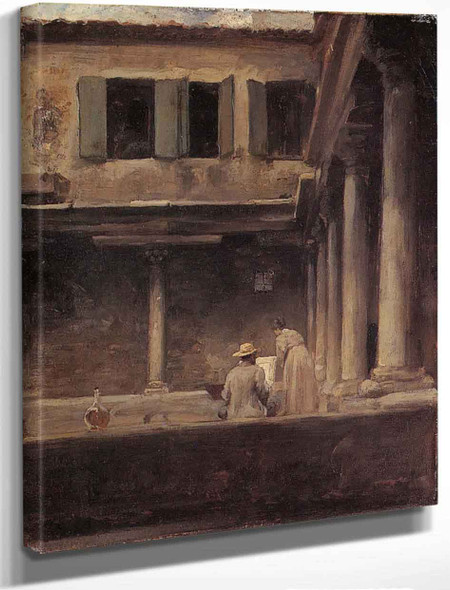 An Artist Sketching In The Cloister Of S. Gregorio, Venice By Sir Frederic Lord Leighton