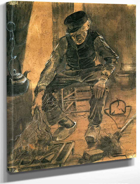An Old Man Putting Dry Rice On The Hearth By Vincent Van Gogh