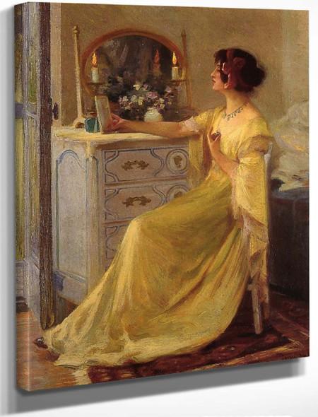 Bessie Potter Vonnoh At Her Dressing Table By Robert Vonnoh