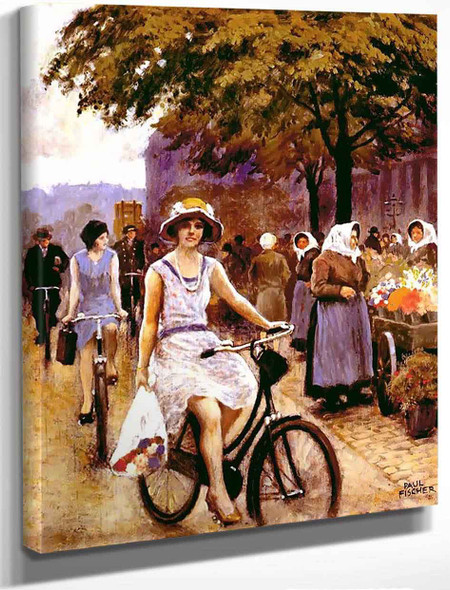 Bicycling Girl By Paul Gustave Fischer By Paul Gustave Fischer