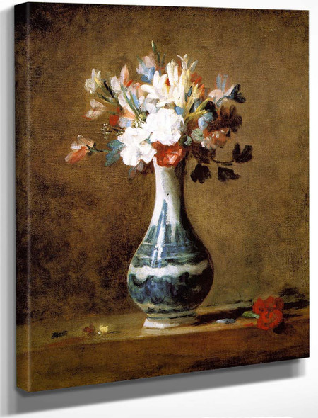 Bouquet Of Carnations, Tuberoses And Sweet Peas In A White Porcelain Vase With Blue Decoration By Jean Baptiste Simeon Chardin