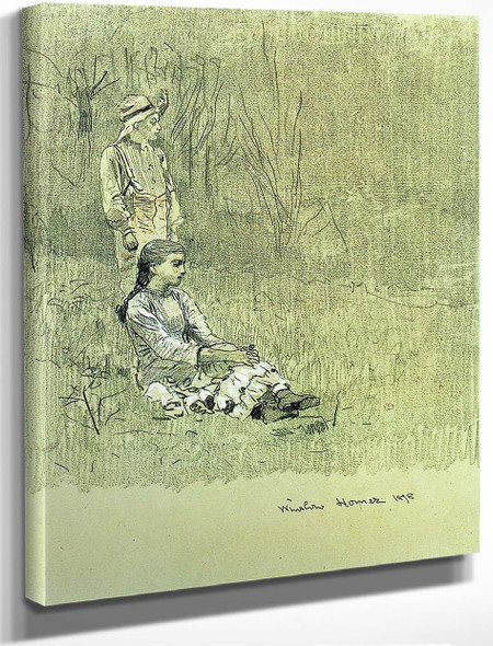 Boy And Girl In A Landscape By Winslow Homer
