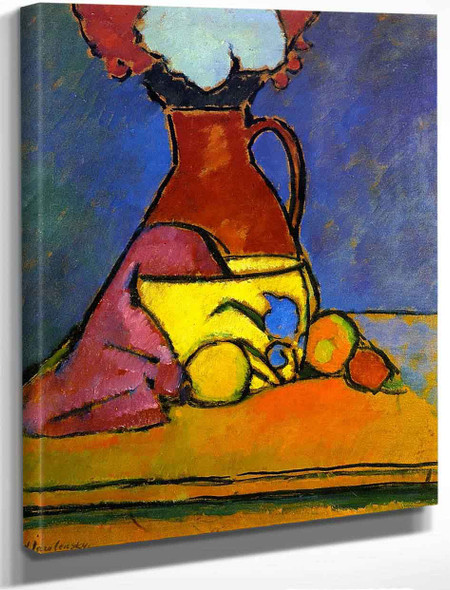 Brown Jug With Fruit By Alexei Jawlensky By Alexei Jawlensky