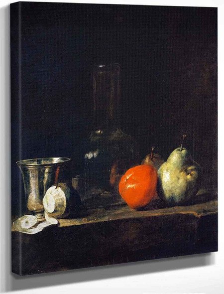 Carafe Of Water, Silver Goblet, Peeled Lemon, Apple And Pears By Jean Baptiste Simeon Chardin By Jean Baptiste Simeon Chardin