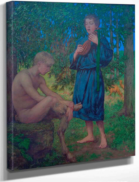Faun And Youth1 By Hans Thoma