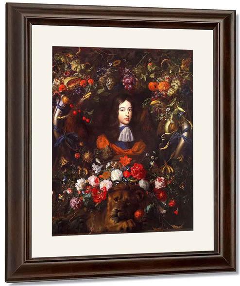 Flower Garland With Portrait Of William Iii Of Orange, Aged 10 By Jan Davidszoon De Heem By Jan Davidszoon De Heem