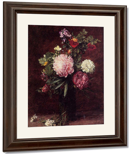 Flowers, Large Bouquet With Three Peonies 2 By Henri Fantin Latour By Henri Fantin Latour