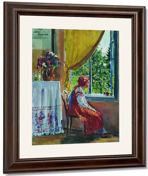 Girl In Red Dress By Sergei Arsenevich Vinogradov Russian 1869 1938