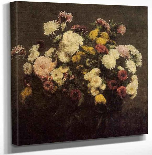 Large Bouquet Of Crysanthemums By Henri Fantin Latour Art Reproduction