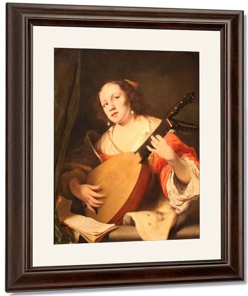 Lady Playing The Lute By Ferdinand Bol