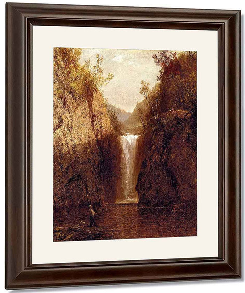 Landscape With Waterfall By John Frederick Kensett By John Frederick Kensett