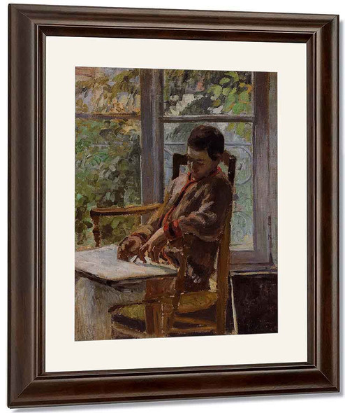Lucien Pissarro In An Interior By Camille Pissarro By Camille Pissarro