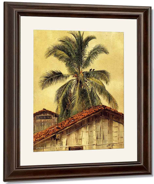 Palm Trees And Housetops, Ecuador By Frederic Edwin Church By Frederic Edwin Church