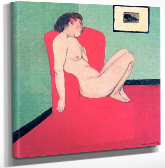 Nude Seated In A Red Armchair By Felix Vallotton Art Reproduction