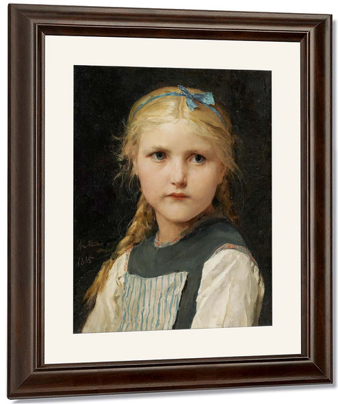 Portrait Of A Girl2 By Albert Anker