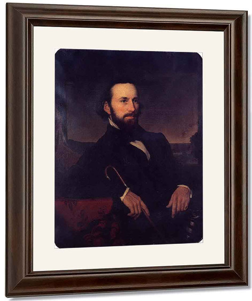 Portrait Of A Man Holding A Cane By Martin Johnson Heade
