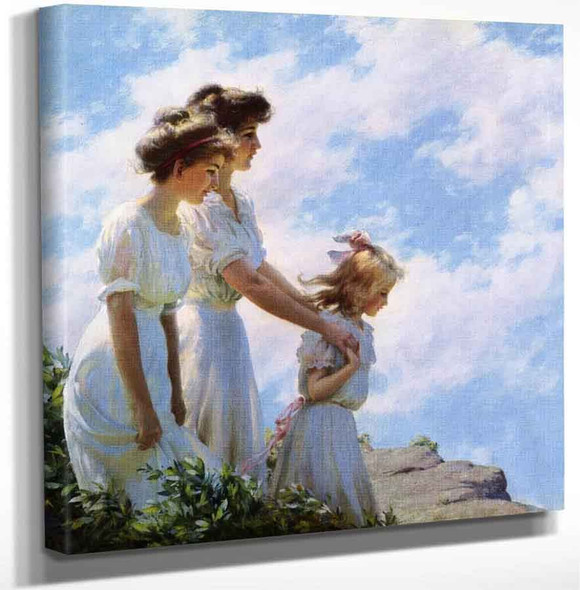 On The Cliff By Charles Courtney Curran Art Reproduction