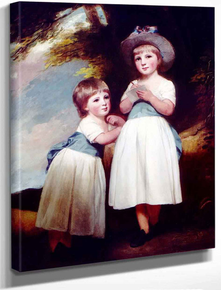 Portrait Of Two Children In A Landscape By George Romney By George Romney