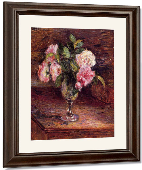 Roses In A Glass By Camille Pissarro By Camille Pissarro