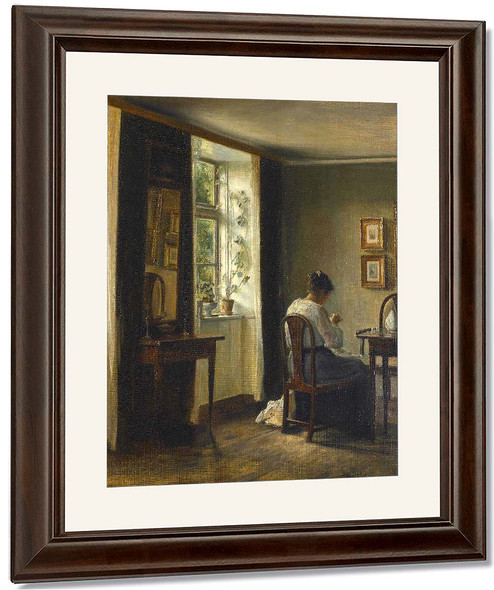 Seamstress Sewing In An Interior By Carl Vilhelm Holsoe