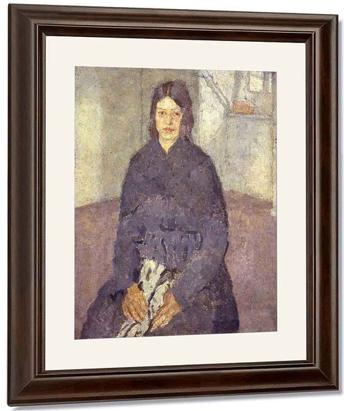 Seated Girl Holding A Piece Of Sewing By Gwen John