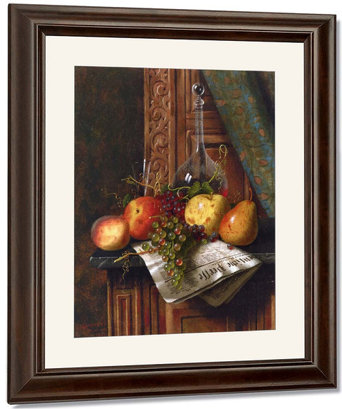 Still Life With Munich Newspaper, Fruit And Decanter By William Michael Harnett