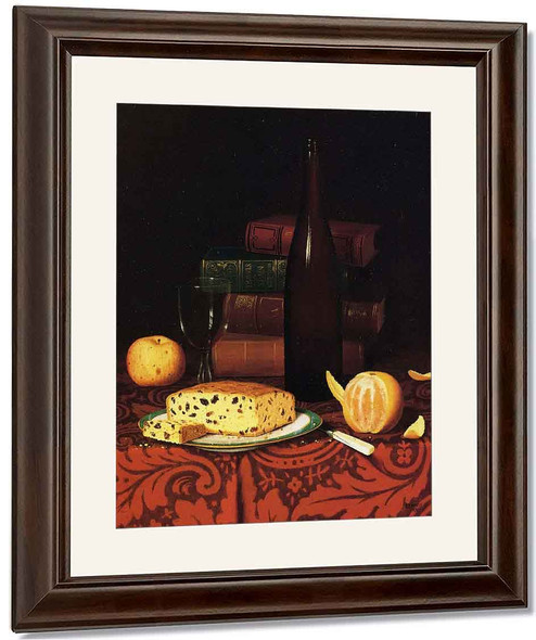 Still Life With Raisin Cake, Fruit And Wine By William Michael Harnett