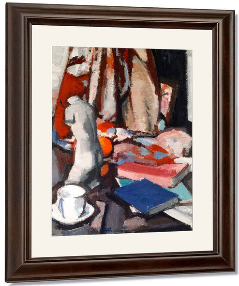 Still Life With Statuette And Books By Samuel John Peploe