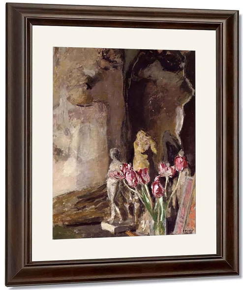 Tulips And Statuettes By Edouard Vuillard