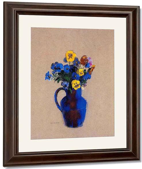 Vase Of Flowers Pansies By Odilon Redon By Odilon Redon
