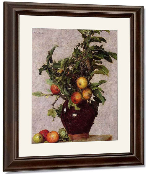 Vase With Apples And Foliage By Henri Fantin Latour By Henri Fantin Latour