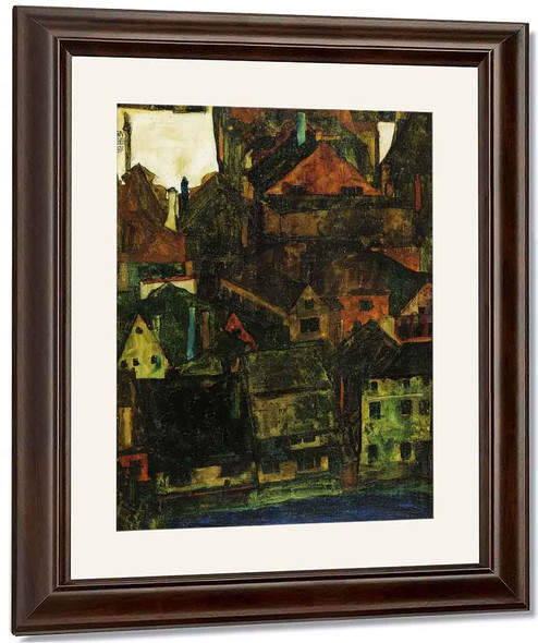 View Of Houses And Roofs Of Krumau, Seen From The Schlossberg By Egon Schiele By Egon Schiele