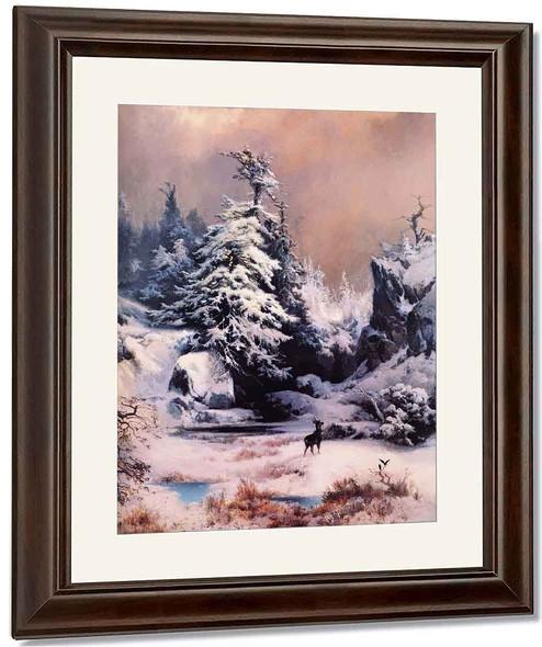 Winter In The Rockies By Thomas Moran By Thomas Moran