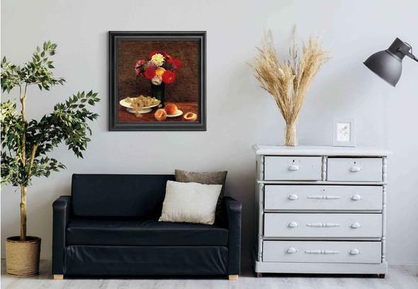 Still Lifedahlias Grapes And Peaches By Henri Fantin Latour Art Reproduction