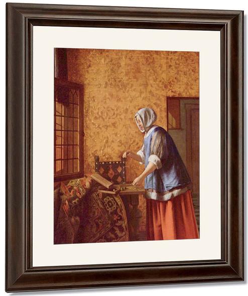 Woman Weighing Gold Coin By Pieter De Hooch