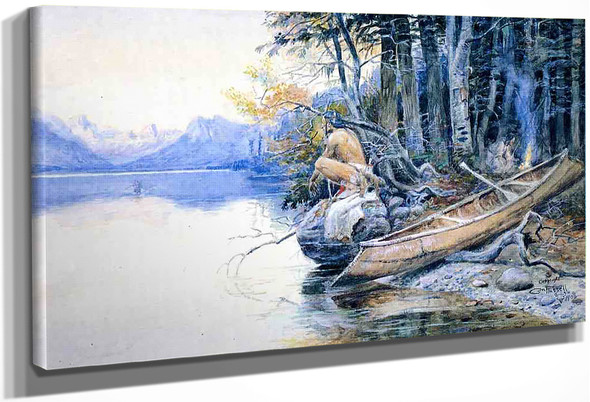 A Campsite By The Lake By Charles Marion Russell
