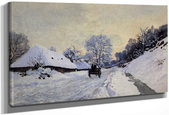 A Cart On The Snow Covered Road With Saint Simeon Farm By Claude Oscar Monet