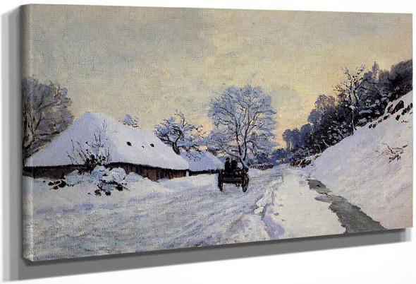 A Cart On The Snow Covered Road With Saint Simeon Farm By Claude Oscar Monet