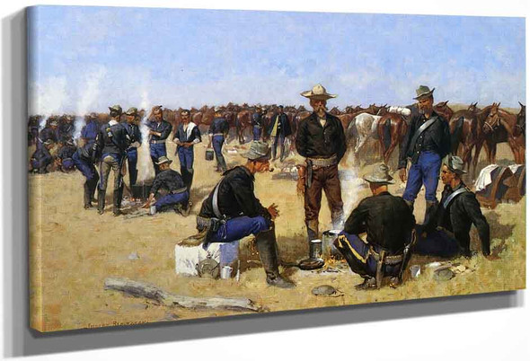 A Cavalryman's Breakfast On The Plains By Frederic Remington