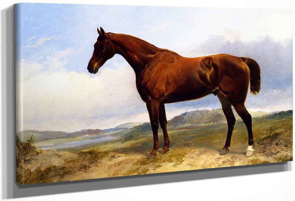 A Chestnut Hunter In A Landscape By Richard Ansdell