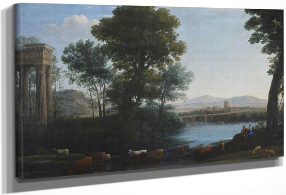 A Classical Landscape With Cattle Crossing A Stream By Claude Lorrain By Claude Lorrain