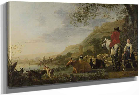 A Hilly Landscape With A Horseman Talking To A Shepherdess By Aelbert Cuyp By Aelbert Cuyp