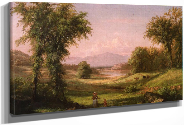 A New Hampshire Landscape, With Elma Mary Gove In The Foreground By Samuel Colman