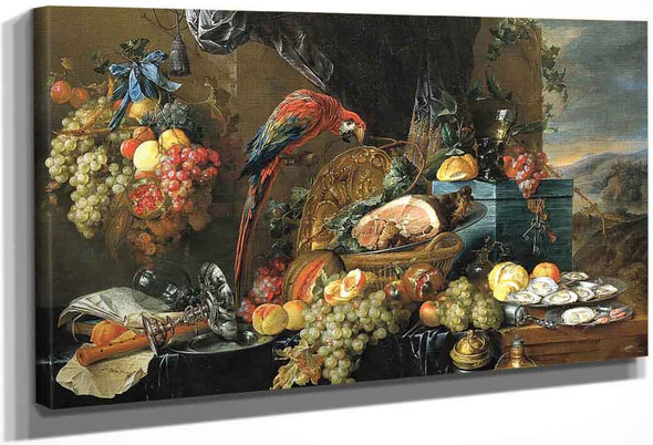 A Richly Laid Table With Parrots 1 By Jan Davidszoon De Heem By Jan Davidszoon De Heem