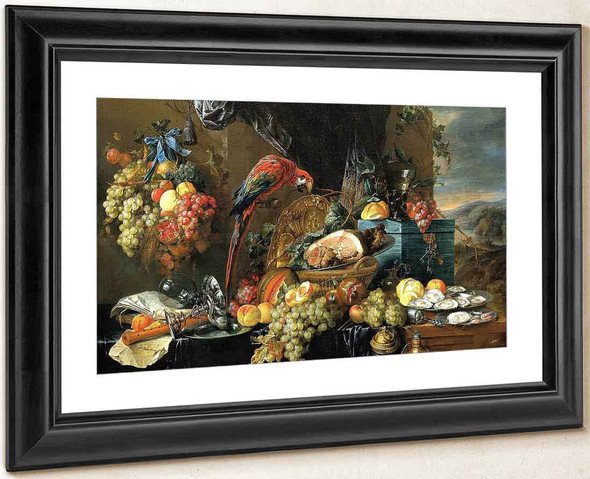 A Richly Laid Table With Parrots 2 By Jan Davidszoon De Heem By Jan Davidszoon De Heem