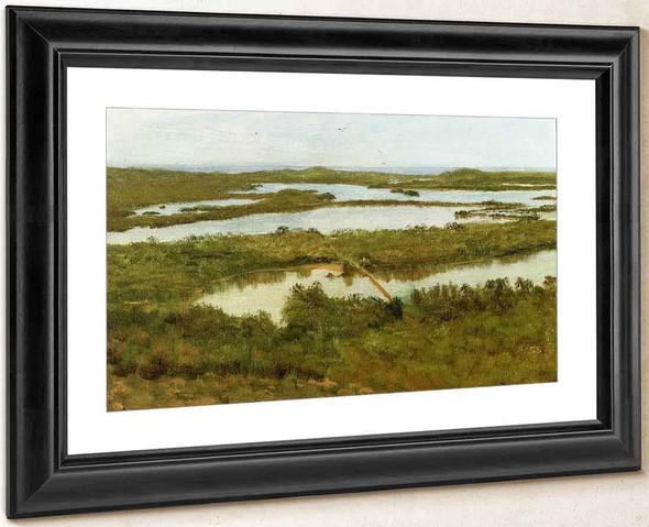 A River Estuary By Albert Bierstadt